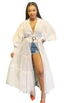 Mesh Patchwork Langarm African Bluse Kleid