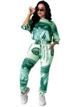 Conjunto de pantalones de dos piezas con estampado Summer Dollar