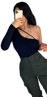 Black Sexy One Shoulder Fit Shirt