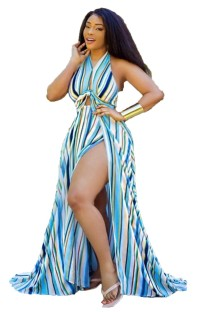 African Striped Colorful Long Evening Dress