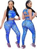 Conjunto de leggings y top corto de piel de serpiente sexy deportiva