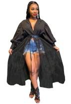 Vestido de blusa africana de manga comprida de retalhos de malha