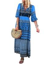 Sommer Boho Print Langes Kleid
