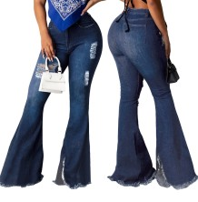 Sexy High Taille Blue Ripped Bell Bottom Jeans