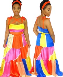 African Colorful Strap Long Evening Dress