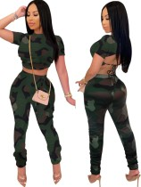 Summer Camou Green Crop Top and Stacked Pants Set