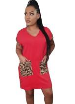 Vestido camisero de leopardo con cuello en V de verano
