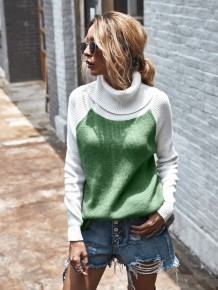 Turndown Collar Contrast Pullover Sweater