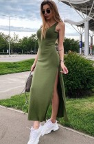 Vestido largo de verano sin mangas con abertura larga