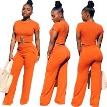 Verão Plain Crop Top e calças de cintura alta Set