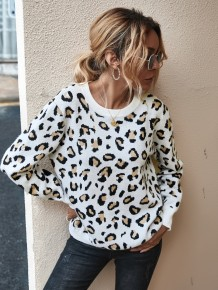 O-Neck Leopard Print Pullover Sweater