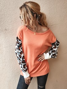 Round Neck Pullover Sweater with Leopard Sleeves