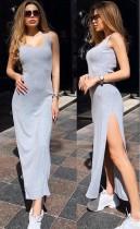 Summer Plain Sleeveless Slit Long Dress