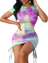 Summer Tie Dye Strings Mini Dress