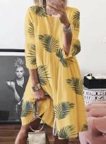 Robe longue trapèze à imprimé estival