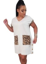 Summer V-Neck Leopard Shirt Dress