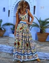 Top corto con estampado de verano y falda larga