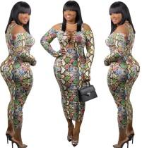 Sexy Print Lace Up Afrikaanse midi-jurk