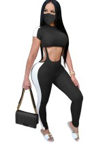Sexy Contrast Crop Top und Strapshose mit Gesichtsbedeckung