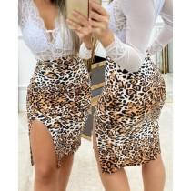 Falda delgada sexy de cintura alta con abertura de leopardo
