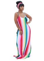 Vestido largo con correa de rayas coloridas de verano con cinturón