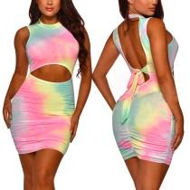 Sexy Tie Dye Cut Out Ruch Mini Dress