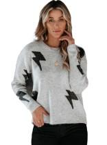 Suéter estampado con cuello redondo y estampado regular