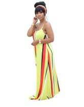 Summer Colorful Stripes Strap Long Dress with Belt