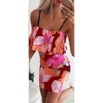 Sexy Träger Blumen Minikleid