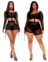 Schwarzes sexy durchsichtiges zweiteiliges Shorts-Set