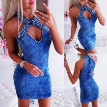 Sexy Blue Beaded Denim Mini Dress