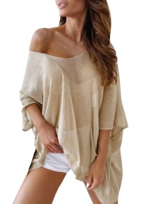Summer See Through V-Neck Loose Cover Up