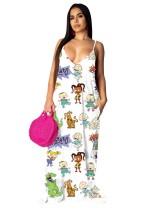 Summer Cartoon Print Strap Maxi Dress