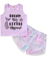 Kinder Mädchen Sommer Print Weste und Meerjungfrau Shorts Set