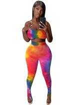 Conjunto de leggings y top corto de un hombro con efecto tie dye