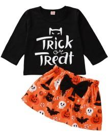 Conjunto de saia de duas peças de Halloween de bebê menina
