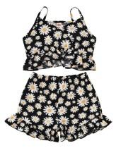 Kinder Mädchen Sommer zweiteilige Blumen Shorts Set