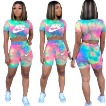 Summer Tie Dye Two Piece Biker Shorts Set