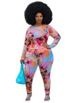 Plus Size Summer Tie Dye Hosen Set