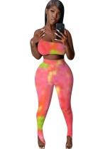 Tie Dye Sexy One Shoulder Crop Top en Legging Set