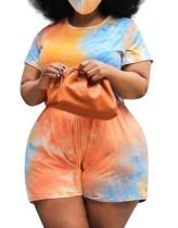 Plus Size Summer Tie Dye Casual Strampler