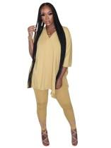 Camicia lunga a fessura tinta unita estiva e set di legging attillati
