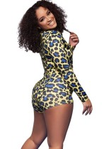 Sexy Long Sleeve Leopard Rompers Pajama