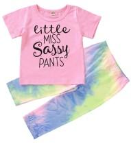 Conjunto de camisa y pantalón tie dye con estampado veraniego para niña
