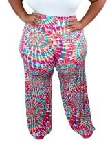 Pantalones de verano con efecto tie dye de talla grande