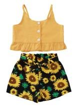 Conjunto de camisa lisa y pantalones cortos florales de verano para niñas