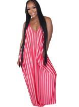 Sommer Lässiges Kleid mit gestreiftem Riemen und langem Kleid
