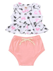Baby Girl Sommer Print Shirt und Plain Shorts Set