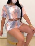 Conjunto de top y pantalones cortos de verano Tie Dye sin tapa facial