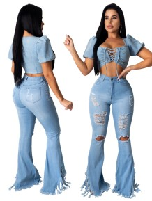 Sexy High Waist Ripped Tassel Flare Jeans